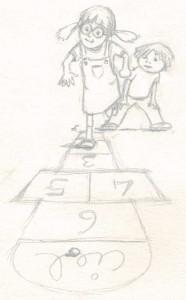 Etudes de personnages: enfants jouant à la marelle