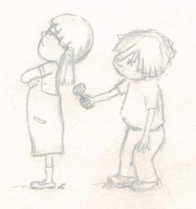 Etudes de personnages: enfant à la sucette