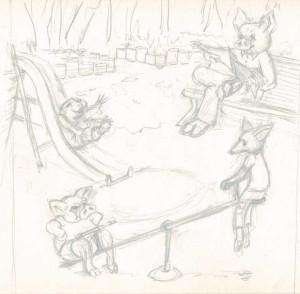 Crayonné d'une scène de jeux