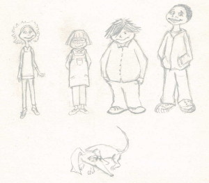 Croquis pour personnages de la bande à Loulou