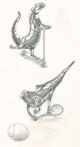 Etudes de personnages: salamandre sportive
