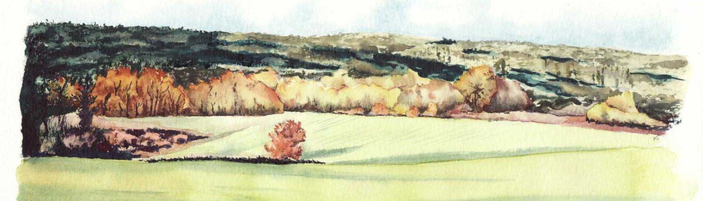 Vue de Combas, gouache sur papier aquarelle