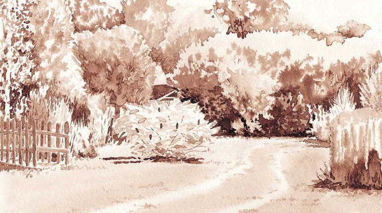 Vue de lud'eau vive à Varaignes, brou de noix sur papier aquarelle